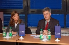 Director General Kathryne Bomberger and German Ambassador to Bosnia and Herzegovina Michael Schmunk at press conference