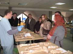 ICMP's expert explains to the MPI representatives the process of combining DNA technology and anthropological analysis to re-associate skeletal remains exhumed from secondary mass graves associated with the fall of Srebrenica