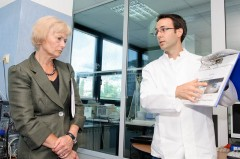 Baroness Kinnock briefed on the work of ICMP laboratory system.