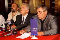 Milan Bogdanić of the Bosnia and Herzegovina Missing Persons Institute speaks at a media conference following the meeting.