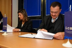 Bomberger and Schmidt during the donation agreement signing in Sarajevo HQ