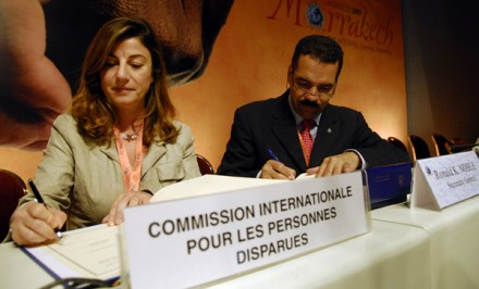 The photo of the signing of the original Agreement on Cooperation signed during INTERPOL's 76th General Assembly in Marrakech, Morocco, in November 2007.