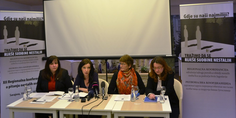 Aleksandra Letic, the author of the Report, together with the representatives of Regional Coordination of Family Associations of Missing from Former Yugoslavia and ICMP